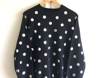 Vintage Black and Silver Polka Dot Pullover Sweater