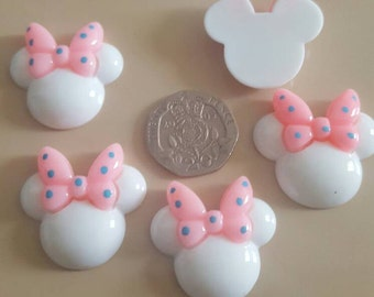 5 x mini mouse heads (white with pink bow) flat back resin cabochon hair bow craft scrap book