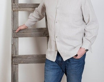 Mens Linen Shirt , Gray Linen Shirt Man white linen shirt beach wedding party special occasion birthday summer
