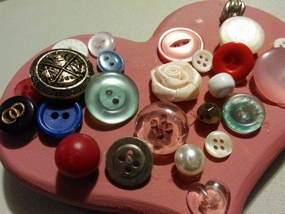 Sale vintage 70s handmade heart button plaque buttons for Craft buttons for sale
