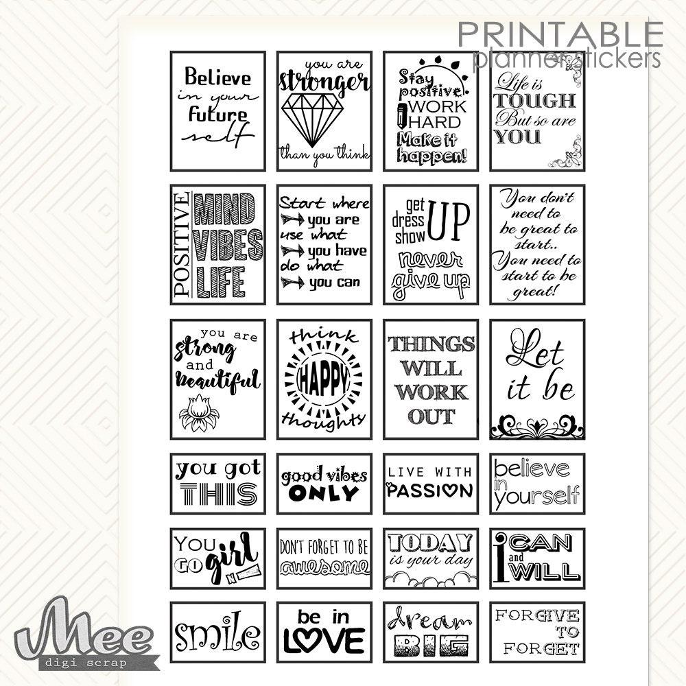 Black & white QUOTE stickersMotivational quotes planner
