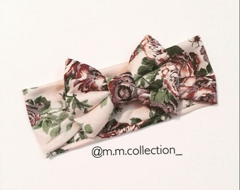 Plum Taupe Floral Turban Bow