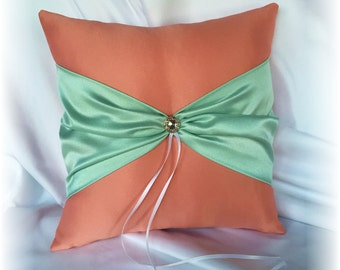 Tangerine and Mint Wedding Ring Pillow, Light Orange Ring Pillow, Orange and Mint Wedding Ring Pillow