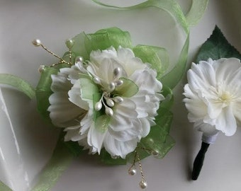 SMALL Ivory and Light Green Wrist Corsage and Matching Boutonniere   Small Prom Set Wedding Or Baby Shower On Clearance
