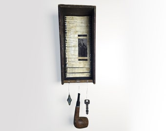 John Keats Poetry Assemblage - Rustic Assemblage Art - Found Objects Poetry Assemblage