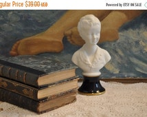10 % SALE Limoges Figurine, Boy Child Statue, Biscuit Figurine, French Porcelain Statue, Colbalt Blue, French Country Decor, Made in France