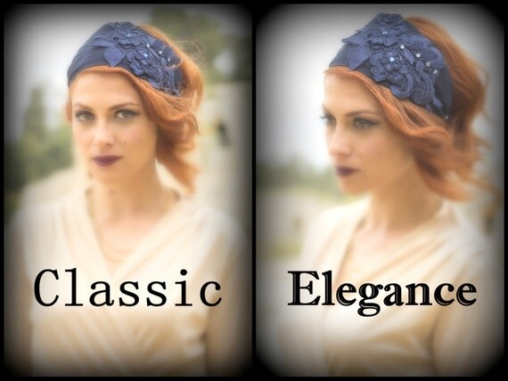 Valentine's Day Gift Girlfriend / Head Covering Winter Midnight Blue / Floral Tichel Flower Applique / Classic Elegant / Church Head Cover