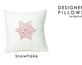 "DESIGNER PILLOWS - ""Snowflake"" - 20 x 20 or 12x16 Throw pillow cover cushion with Red Snowflake Embroidery"