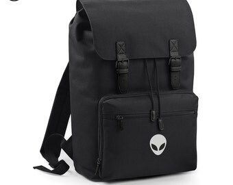 Alien Head Backpack Bag Back Pack Rucksack Grunge Space UFO