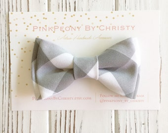 Grey buffalo plaid bowtie - grey bowtie-Grey plaid bowtie - Daddy and son -groomsmen bowtie -RIng bearer bowtie- wedding bowties -Dog bowtie