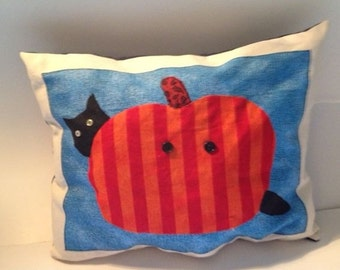 Black cat with pumkin whimisical accent pillow
