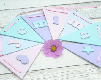 Girls Bunting Banner Wooden Bunting Girls Bedroom Kids room decor Personalised Gift for child's room