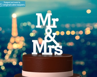 "Wedding Cake Topper - ""Mr & Mrs"" - WHITE - OriginalCakeToppers"