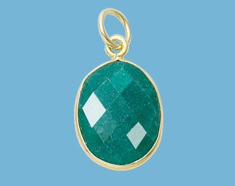 Small Emerald Gold Plated Oval Pendant, 13x16mm