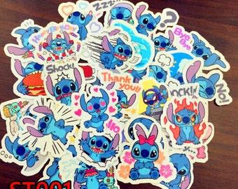 ST001,ST002- Disney Stitch Kawaii Cute stickers, Scrapbooking luggage White/Clear waterproof