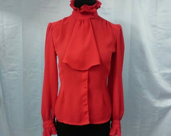 Vintage Red Blouse, High Collar Ruffles, fits 2-4