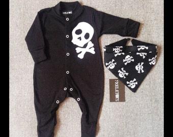 Skeletots baby boy black skull & bones romper suit with headband baby goth 0-3m to 12m