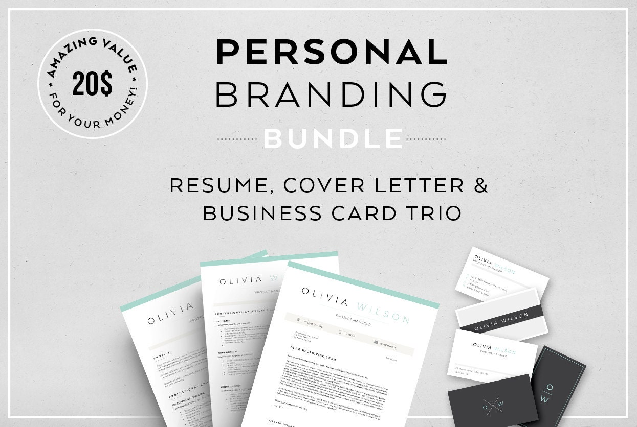 resume cover letter  u0026 business card trio personal branding