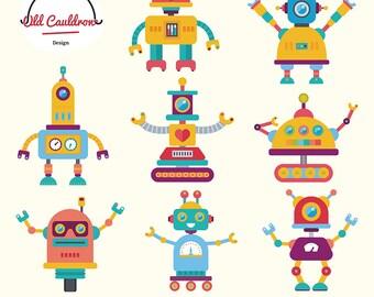 Robots clipart commercial use, robot clip art, vector clipart, vector graphics CL065