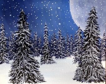 Forrest of Snowy Pine Trees, Christmas trees, Pines in snow, Snow-covered Pines, Christmas scene, Snowy Winter, Winter scene