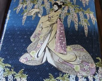 Kona Bay Geisha Dynasty Blue cotton woven, 23x44 panel (2 side by side geishas)