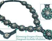 Blooming Dragon Flowers Needlework Necklace (Bracelet or Pendant) Tutorial PDF