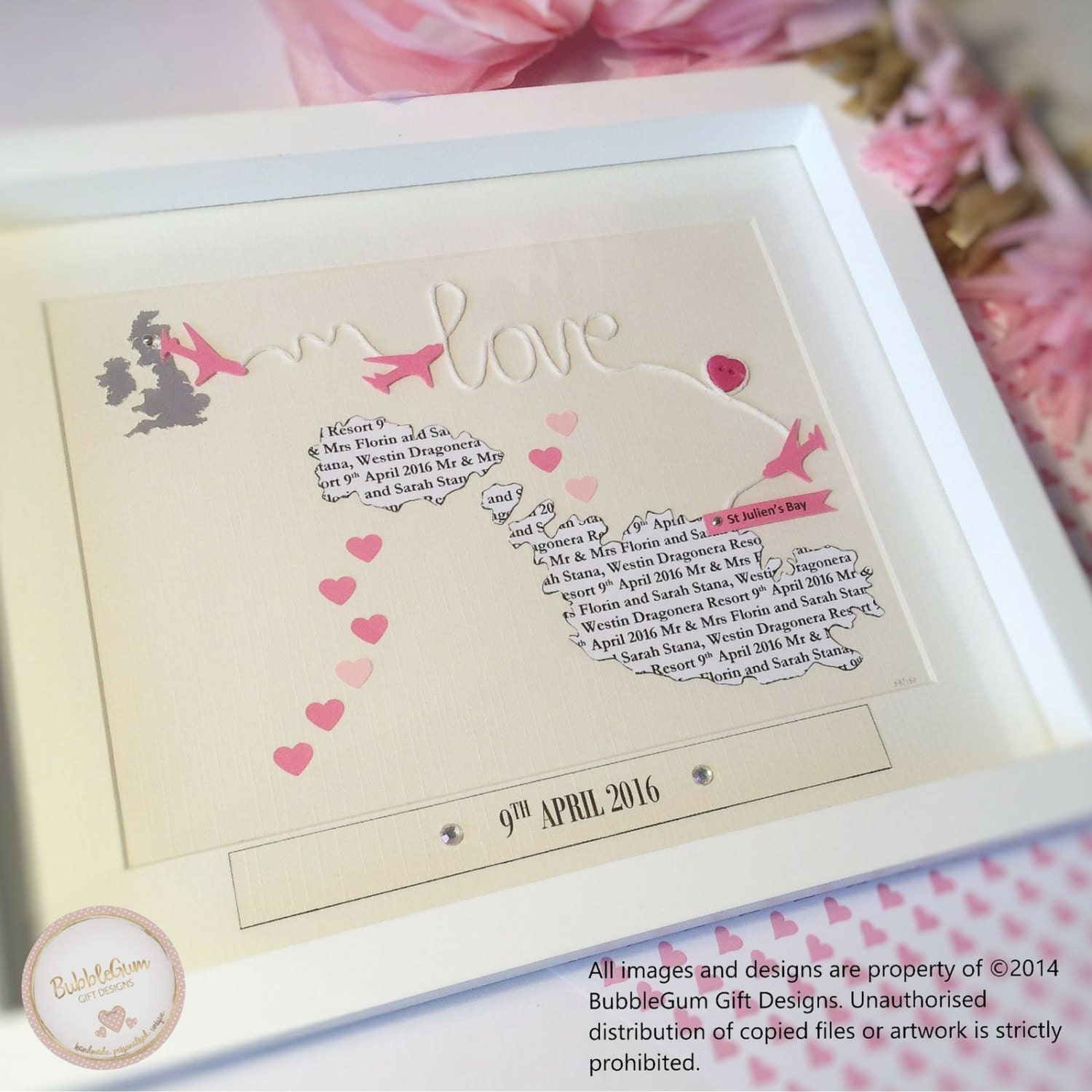 Wedding Gifts Unique Uk : Heart Map Gift Unique Wedding Gift Custom Map Pink Wedding