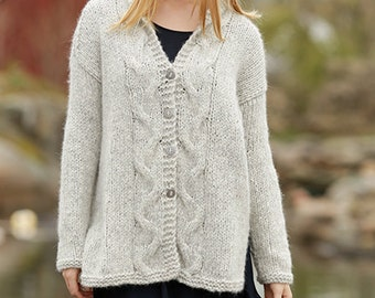 Woman knit Jacket, wool jacket,  hand knitted with cables , alpaca, soft merino wool, for women
