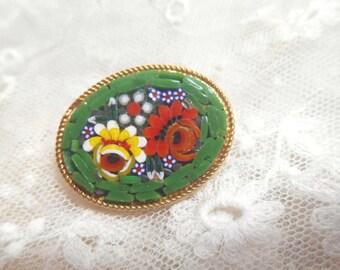 Italian mosaic floral Vintage Brooch