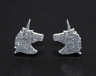 Unicorn Earrings in Sparkle Silver or Gold, Unicorn Stud Earrings, Unicorn Studs, Unicorn Jewelry, Fantasy Earrings, Glitter Earrings