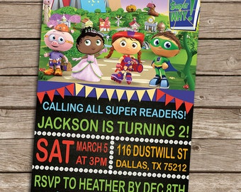 Super Why Birthday Invitation - Super Why Birthday Invite - DIY Printable Digital Personalized Super Why Birthday Invitation - Super Why