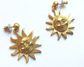 Vintage 1990s Gold Sun Earrings