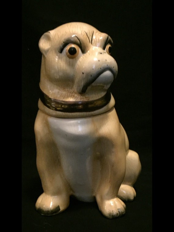 "FREE SHIPPING--Antique-English-Victorian-Pug-Dog-7 3/4"" Tall-Tobacco-Jar"