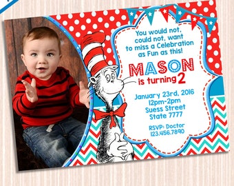 Dr Seuss Invitation - Dr Seuss Birthday - Dr Seuss Party - Dr Seuss Birthday Party Invitation - Dr Seuss Printables