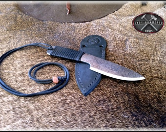 Neck Knife and Custom Leather Sheath by Indy Hammered Knives
