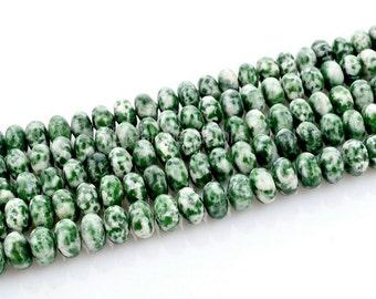 Blue Green Spot Semi Precious Stone Rondelle Beads Lots Wholesale