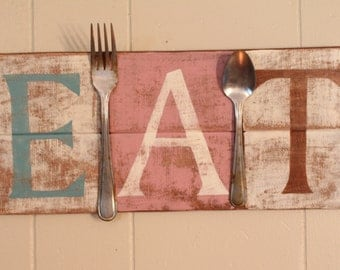 EAT, pallet sign, recycled wood, wall decor, distressed, gift idea, cottage chic