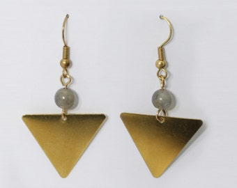 Brass triangle Pyramid Earrings with Grey labradorit
