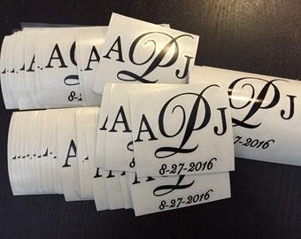 Custom vinyl stickers for centerpiece vases