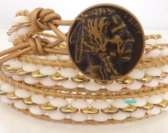 Wrap Bracelet, leather and gold and white seed beads