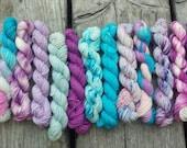 Ice Queen - Mini Skeins set, Sock yarn Minis, 12 mini skeins, 5 Grams each- Ready to Ship