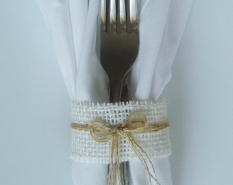 25 Burlap Napkin Rings / Silverware Holders – Color: Cream with Tan Burlap Bow