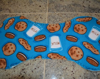 Flannel Burp Cloth - Blue w/Milk & Cookies