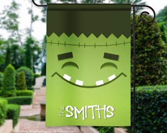 Happy Halloween Frankenstein Head Personalized Trick or Treat Holiday Garden Flag Yard Sign Decor Decoration Custom Banner w Your Name