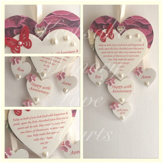 Ruby Wedding Gift Ideas Uk : 40th Ruby Anniversary gift personalised wooden keespake heart