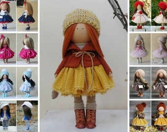 Autumn doll Fabric doll Handmade doll Tilda doll Textile doll Rag doll Winter doll Interior doll Soft doll Unique doll by Margarita H