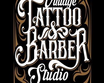 Vintage Tattoo & Barber,  Metal Sign,  No.641