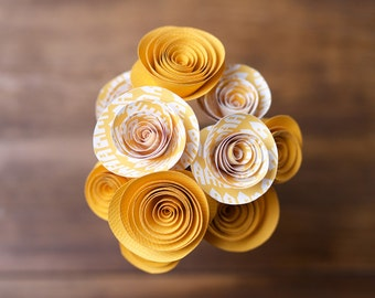 Pop of colour yellow paper flower bouquet with glass jar, handmade paper flowers, paper flower bouquet, home decor