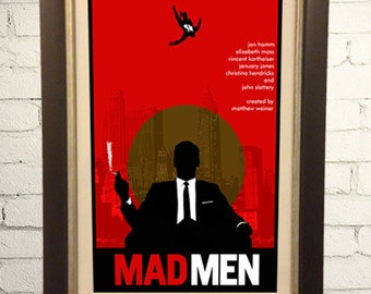 Mad Men Inspired Retro Art Print Poster  11x17