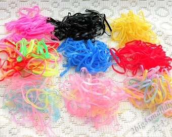 2000pcs DIY rainbow elastic rubber band,small tiny little hair ties ponytail elastic braids plaits elastic rubber bands,rainbow loom bands